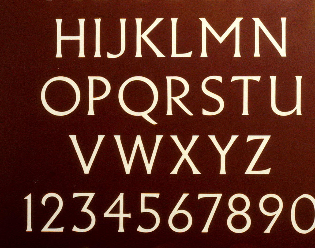 Letters and numbers using the Alburtus font.