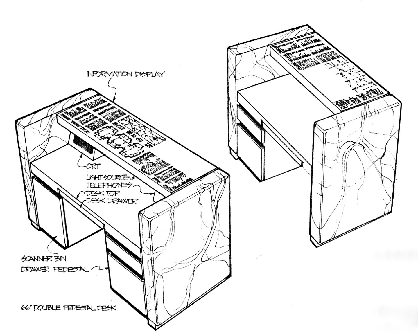 Diagrams of the reverse sides of the main security desk