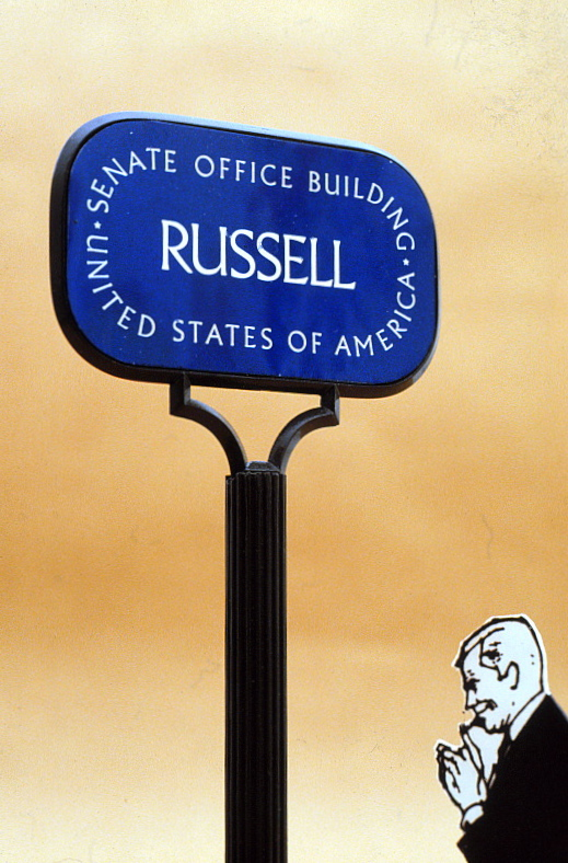 Closeup of Russell Office Building sign