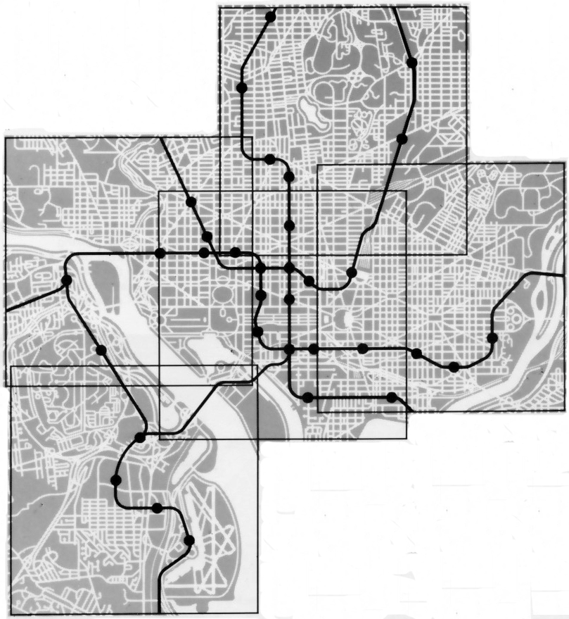 Neighborhood map borders and rail lines