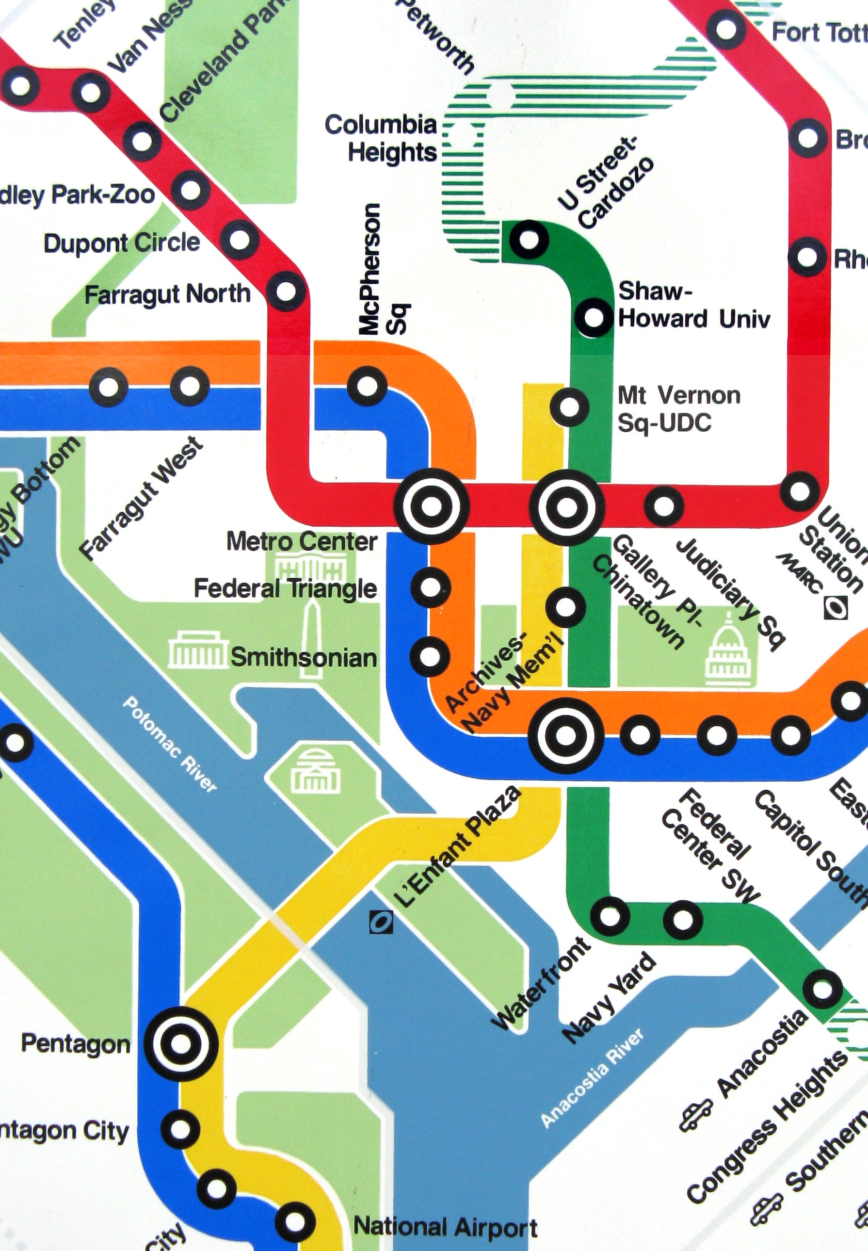 DC Metro System Map detail