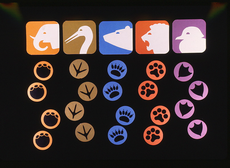 footprints of various animals beneath their respective symbols