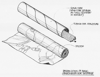 Sketch of shipping tube next to rolled image