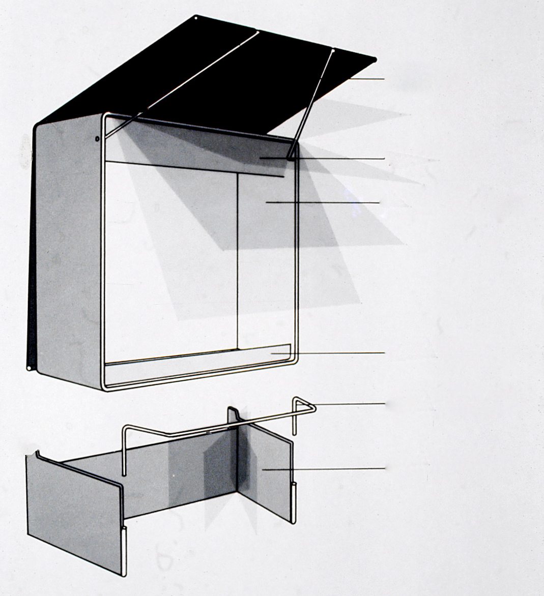 Design concept drawing for exhibit display cases.
